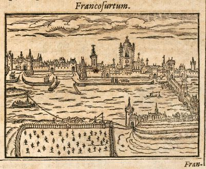 Antique Maps, Saur, Germany, Frankfurt Main / Schweinfurt, 1608: Francofurtum / Schuueinfurdia
