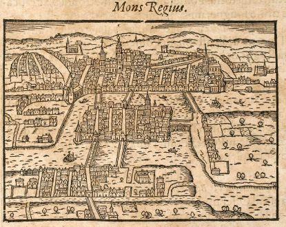 Antike Landkarten, Saur, Russland, Königsberg, Kaliningrad, 1608: Mons Regius