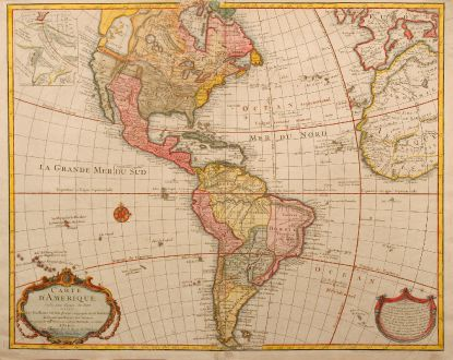Antique Maps, de l Isle, America Continent, 1763: Carte d'Amerique, dressee pour l'usage du Roy