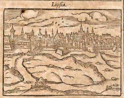 Antike Landkarten, Saur, Deutschland, Bremen / Leipzig, 1608: Brema / Lipsia