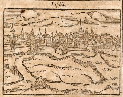 Antique Maps, Saur, Germany, Bremen / Leipzig, 1608: Brema / Lipsia