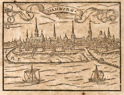 Antique Maps, Saur, Germany, Hamburg, 1608: Hambvrg