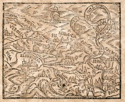Antique Maps, Saur, Italy, Tuscany, 1608: Pisa / Verona / Florence / Rom