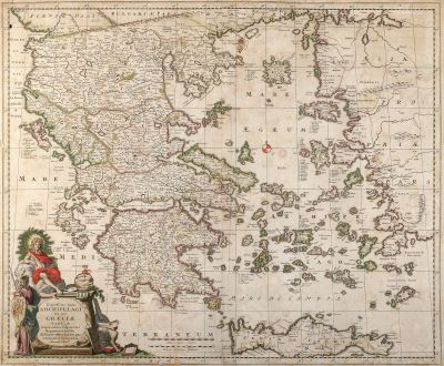 Antike Landkarten, Visscher, Griechenland, Peloponnes, Ägäis, Kreta, 1680: Exactissima Totius Archipelagi nec non Graeciae Tabula in qua Omnes Subjacentes Regiones et Insulae distincte ostenduntur...