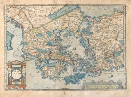 Antique Maps, Ortelius, Greece, Peloponnese, Aegean, Crete, Asia Minor: Graecia, Sophiani