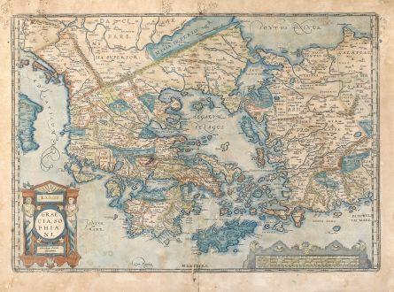 Antike Landkarten, Ortelius, Griechenland, Peloponnes, Ägäis, Kreta, Kleinasien: Graecia, Sophiani