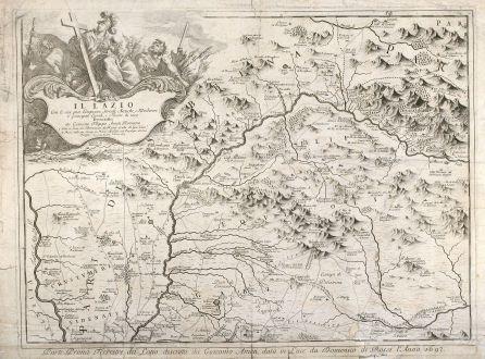 Antike Landkarten, Rossi, Italien, Lazion, Abruzzen, 1693: Parte Prima Terrestre del Latio, descritta da Giacomo Ameti ... / Parte Seconda Terrestra del Latio ...