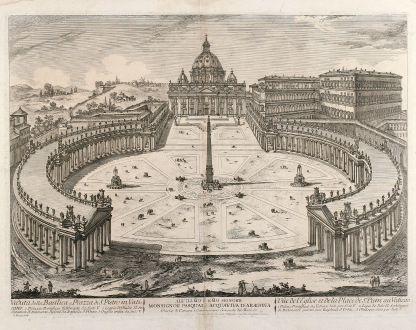 Antique Maps, Barbault, Italy, Rome, Vatican, Piazza San Pietro, St. Peter s Basilica: Veduta della Basilica e Piazza di S. Pietro in Vaticano.
