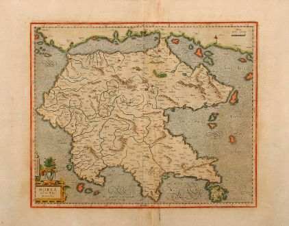 Antique Maps, Mercator, Greece, Peloponnes, 1590: Morea olim Peloponnesus
