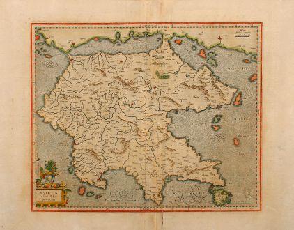 Antike Landkarten, Mercator, Griechenland, Peloponnes, 1590: Morea olim Peloponnesus