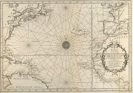 Antike Landkarten, Bellin, Atlantik, Seekarte, Afrika, Amerika, 1746: Karte von dem Abendlaendischen Ocean