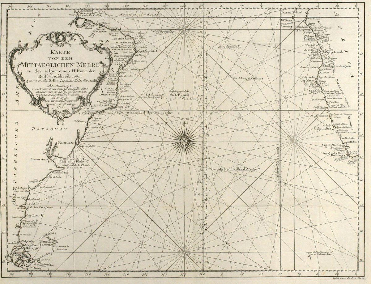 Karte Von Dem Mittaeglichen Meere Bellin Atlantic Ocean Sea