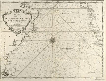 Antike Landkarten, Bellin, Atlantik, Seekarte, Afrika, Südamerika, 1746: Karte von dem Mittaeglichen Meere