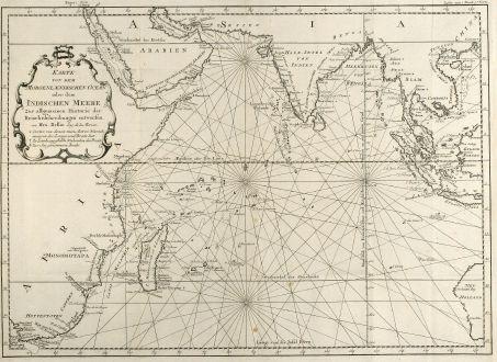 Antike Landkarten, Bellin, Atlantik, Afrika, Indien, Südost Asien, Australien: Karte von dem Morgenlaendischen Ocean oder dem Indischen Meere