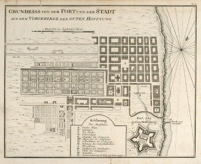 Antike Landkarten, Bellin, Südafrika, Südafrika, Kapstadt, 1749: Grundriss von dem Fort und der Stadt auf dem Vorgebirge der Guten Hoffnung