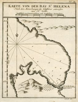 Antique Maps, Bellin, Saint Helena, 1749: Karte von der Bay St. Helena