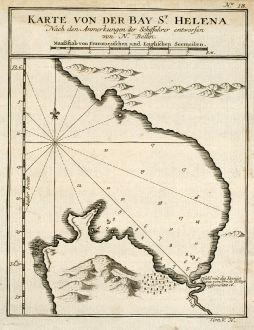 Antike Landkarten, Bellin, Westafrika, St. Helena, 1749: Karte von der Bay St. Helena
