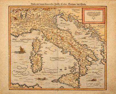 Antique Maps, Münster, Italy, 1550: Italia mit dreyen furnemesten Inseln, Corsica, Sardinia, und Sicilia