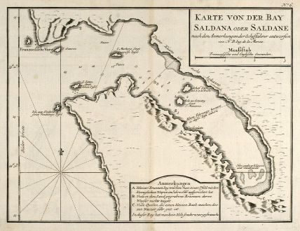 Antique Maps, Bellin, South Africa, Saldanha Bay, 1749: Karte von der Bay Saldana oder Saldane