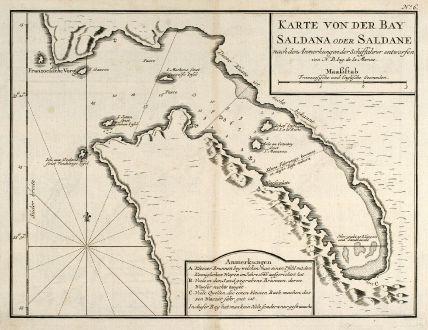 Antike Landkarten, Bellin, Südafrika, Südafrika, Saldanha Bay, 1749: Karte von der Bay Saldana oder Saldane