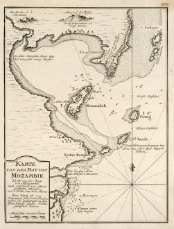 Antique Maps, Bellin, Southeast Africa, Mozambique, 1749: Karte von der Bay von Mozambik