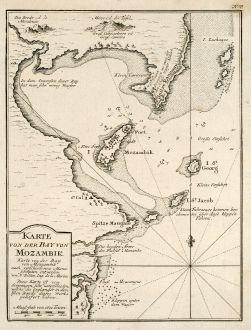 Antike Landkarten, Bellin, Südafrika, Südostafrika, Mosambik, 1749: Karte von der Bay von Mozambik