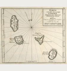 Karte von den Eylanden Comore Johanna oder Anjouan Mohilla oder Moaly und Mayote