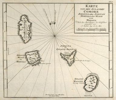 Antike Landkarten, Bellin, Indischer Ozean, Komoren, 1749: Karte von den Eylanden Comore Johanna oder Anjouan Mohilla oder Moaly und Mayote