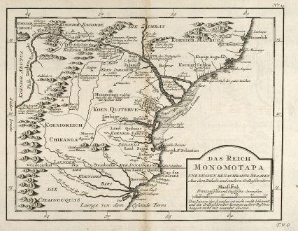 Antike Landkarten, Bellin, Südafrika, Südostafrika, Mosambik, 1749: Das Reich der Monomotapa und dessen benachbarte Staaten