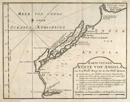 Antike Landkarten, Bellin, Westafrika, Südwest-Afrika, Angola, 1749: Karte von der Küste von Angola von dem Flusse Bengo bis an den Fluß Quanza.