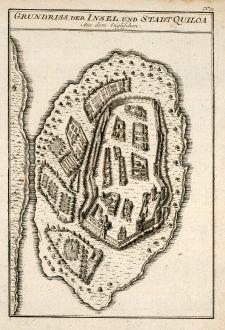 Antike Landkarten, Bellin, Ostafrika, Tansania, Kilwa Kisiwani, 1749: Grundriss der Insel und Stadt Quiloa