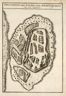Antique Maps, Bellin, Tanzania, Kilwa Kisiwani, 1749: Grundriss der Insel und Stadt Quiloa