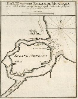 Antique Maps, Bellin, Kenya, Mombasa, 1749: Karte von dem Eylande Monbasa an der ostlichen Küste von Africa im 5 Grade Süderbreite gelegen.