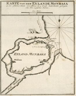 Antike Landkarten, Bellin, Ostafrika, Kenia, Mombasa, 1749: Karte von dem Eylande Monbasa an der ostlichen Küste von Africa im 5 Grade Süderbreite gelegen.
