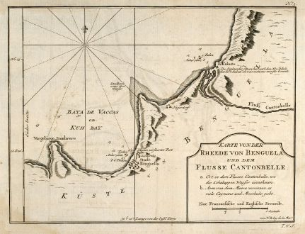 Antike Landkarten, Bellin, Westafrika, Angola, Benguela, 1749: Karte von der Rheede von Benguela und dem Flusse Cantonbelle
