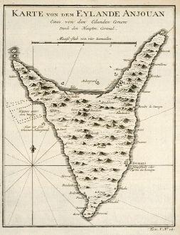 Antique Maps, Bellin, Comoros, Anjouan, 1749: Karte von den Eylande Anjouan Eines von den Eylanden Comore