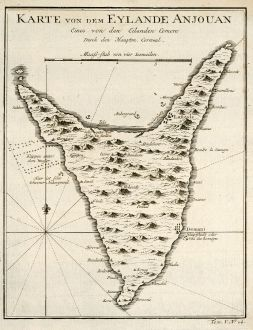 Antike Landkarten, Bellin, Indischer Ozean, Komoren, Anjouan, 1749: Karte von den Eylande Anjouan Eines von den Eylanden Comore