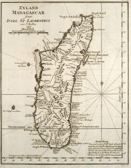 Antike Landkarten, Bellin, Ostafrika, Madagaskar, 1749: Eyland Madagascar sonst Insel St Laurentius