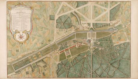 Antike Landkarten, Mariette, Frankreich, Chantilly, 1730: Plan general des chateaux, parc et jardins de Chantilly