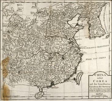 Antike Landkarten, Bellin, China, China, Korea, 1749: China nebst Corea und den benachbarten Laendern der Tartarey