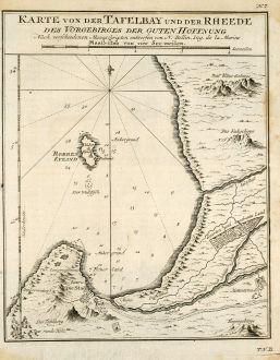 Antike Landkarten, Bellin, Südafrika, Südafrika, Kapstadt, 1749: Karte von der Tafelbay und der Rheede des Vorgebirges der Guten Hoffnung