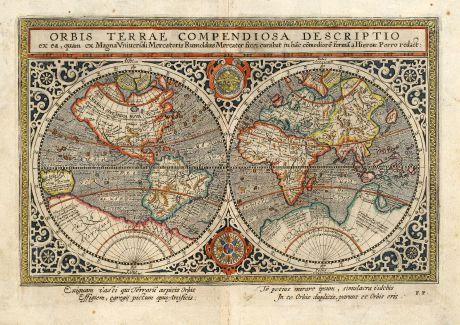 Antike Landkarten, Mercator, Klassische Weltkarte des späten 16. Jahrhunderts: Orbis Terrae Compendiosa Descriptio ex ... Rumoldus Mercator ... Hieron: Porro redact