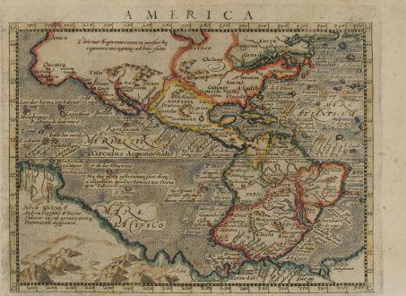 Antike Landkarten, Magini, Amerika Kontinent, 1604: America