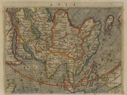 Antique Maps, Magini, Asian Continent, 1597 (1604): Asia