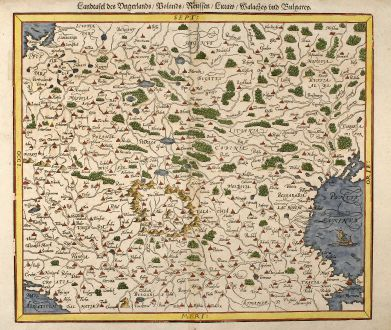 Antique Maps, Münster, Poland, Eastern Europe, 1550: Landtafel des Ungerlands / Polands / Reussen / Littaw / Walachey und Bulgarey
