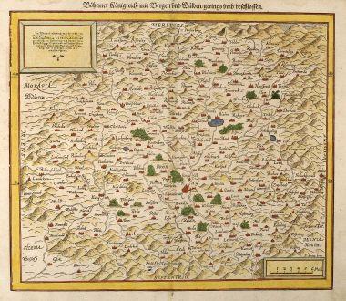 Antique Maps, Münster, Czechia - Bohemia, 1550: Boehemer Koenigreich mit Bergen und Waelden gerings umb beschlossen