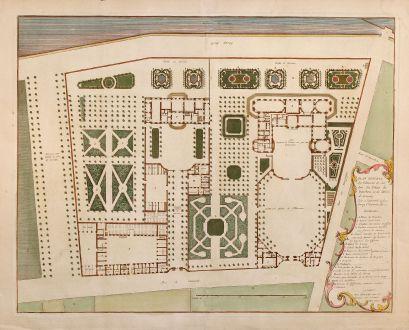 Antike Landkarten, Mannevillette, Frankreich, Lassey, 1730: Plan general des batimens et Jardins du Palais de Bourbon et de l'Hotel da Lassey