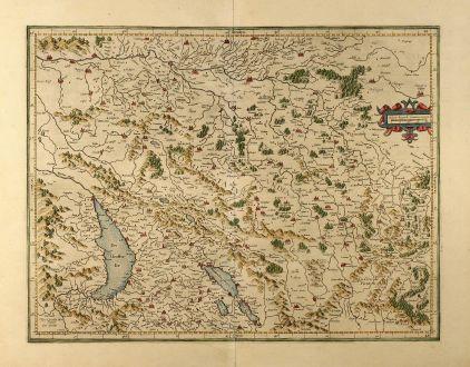 Antike Landkarten, Mercator, Schweiz, Burgund, 1610: Burgundia superior sive liber comitatus