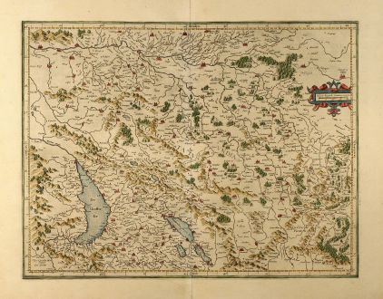 Antique Maps, Mercator, Switzerland, Burgundy, 1610: Burgundia superior sive liber comitatus