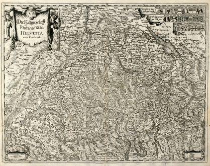 Antike Landkarten, Merian, Schweiz, 1638: Die Eydtgnoschafft Pünten und Wallis Helvetia cum Confinijs.